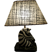 Mid Century Porcelain Zebra Table Lamp Circa 1950's-60's