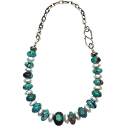 REDUCED Afghan Turquoise and Cultured Pearl Necklace