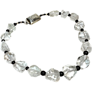 REDUCED Rock Crystal and Onyx Necklace