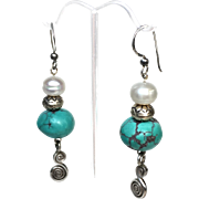SALE Afghan Turquoise, Cultured Pearl and Sterling Earrings