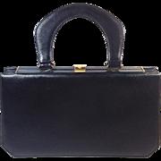 Saks Fifth Avenue Black Leather Handbag