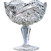 Antique American Brilliant Period Cut Crystal Compote Comport Vase Bowl
