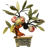 Vintage Jade and Stone Peach Fruit Tree in Spinach Jade Planter