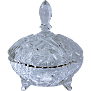 SALE Vintage Hand Cut Crystal Covered Footed Candy Dish in Scalloped Shape