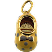 New Solid Enamel 18K Yellow Gold Baby Shoe Made in Italy
