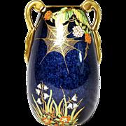 SALE Carlton Ware Bleu Royale Spider Web Vase 1930's Art Deco Free Shipping