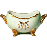 Gold Gilded French Limoges Open Sugar Bowl in Pale Green