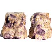 Large Bookends Natural Amethyst Crystal Geode on Quartz Matrix Bookends from Canada