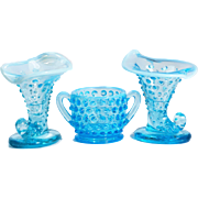3 Fenton Hobnail Blue Cornucopia Sugar Bowl Opalescent Milk Art Glass