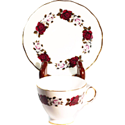 A Vintage Royal Vale Teacup and Saucer by Ridgway Dark Red Roses