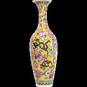 SALE Early 20th Century Chinese Eggshell Vase Famille Jaune Dragon Peony Marked