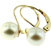 NEW Old Stock 8mm 14K Yellow Gold Round Akoya Japanese Culture Pearl Lever Back Earring