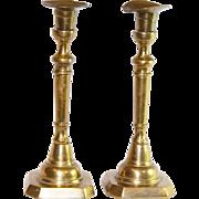 Antique Pair Golden Brass Candlestick