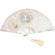 Antique French Mother of Pearls Hand Painted Fan Signed