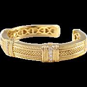 Judith Ripka 18k Yellow Gold, Diamond Bracelet