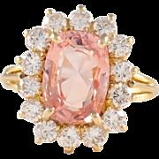 18k Yellow Gold Padparadscha Sapphire and Diamond Ring