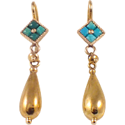 Antique 14k Yellow Gold Turquoise Earrings