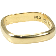 GUCCI  18K Yellow Gold Square Wedding Band
