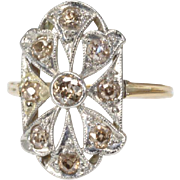 Stunning 14K Yellow Gold Filigree Ring with Light Fancy Diamonds
