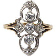 14 Karat Gold Filigree Old European Cut Diamond Ring