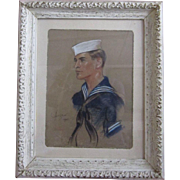 Post WWII Color Charcoal - Pastel Chalks - Portrait of Sailor by Renown Illustrator Peter ...
