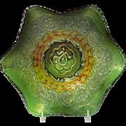 "Fenton Persian Medallion 9"" Inch Iridescent Green Bowl"