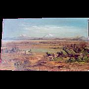 Jose Maria Velasco (1840 - 1912) Signed Landscape Oil on Postcard (Mexico's greatest landscape