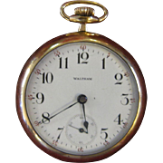 Antique (1899) American Waltham Watch Co.15 Jewel Pocket Watch with Gold-Plated Locomotive ...
