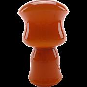 Retro Mid-century orange glass table lamp - Scandinavian 20th century orange glass lamp - ...