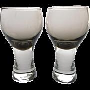 Pair of vintage Scottish 'peat' smokey grey Caithness 'Canisbay' shot glasses - British grey .