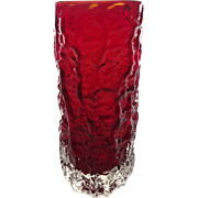 1966 Whitefriars ruby 'bark' glass vase from the 'Textured' range designed by Geoffrey Baxter