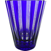 Mid century cobalt blue and clear cut glass beaker - Vintage striped blue glass - Tapered navy