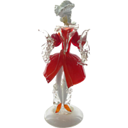 1950s - 1970s Italian Murano aventurine glass figurine of a man in elaborate red frock coat ..