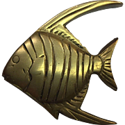 SALE Midcentury Five Swimming Solid Brass Fish Wall Hangings with Hardware