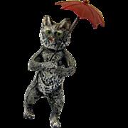 """Delightful Rare Antique Miniature Cat & Umbrella """"Nodder"""" c1900"""