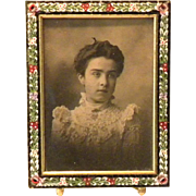 """Beautiful Antique Micro Mosaic frame with Victorian Photo 4 1/2"""" x 3 1/2 ..."""