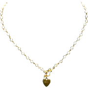 """14k Yellow Gold & Cultured Seed Pearl 17 1/2"""" Necklace with Heart Toggle"""