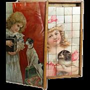 Antique German Puzzle Set Picture Cube Blocks