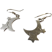 Mexican Sterling Silver Moon and Stars Earrings, Dangle Style