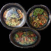 Russian Palekh Collector Plate Lukomorye, Tsar Saltan, The Magic Fish COA