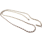 "Vintage .925 Sterling Silver Braided Rope Twisted Chain Necklace, 20"", HEI Italy"