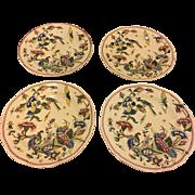 Set of 4 Antique French Gien Faience Plates Rouen Corne d'Abondance Cornucopia Pattern