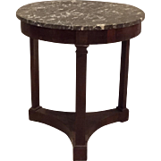 SALE French Antique Round 3-Leg Marble Top Empire Side Table