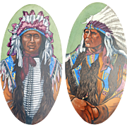 Antique American Native Indian : An unusual pair of large hand painted glass Panels - circa ..