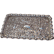 Antique English solid silver : A large fine quality Green Man / Mask Dressing Table Tray by ..