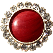 Rare collectible vintage c19th Czech Bohemian silver mounted crystal rhinestone red swirl glas
