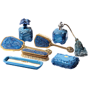 Vintage collectible Czech Bohemian Curt Schlevogt signed blue Lapis luxury art glass perfume .