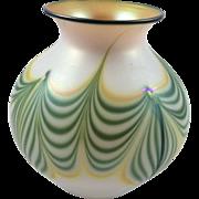 Lindbergh Studios Pulled Feather Art Glass Vase Signed