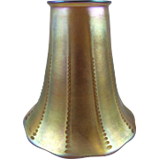 Gold Iridescent Art Nouveau Ribbed Fostoria Glass Shade Unsigned