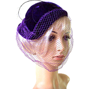 Vintage 1950s Purple Velvet Fascinator Hat with Feather
